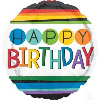 Luftballon Happy Birthday Bunt Folie ø43cm
