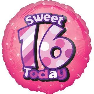 Luftballon Zahl 16 sweet Today Pink Folie ø43cm