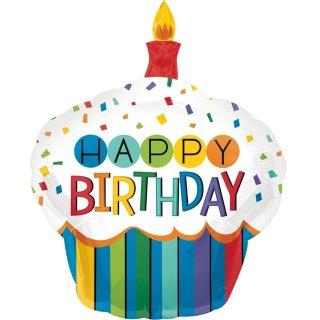 Luftballon Happy Birthday Regenbogen Cupcake Folie 91cm