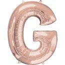 Luftballon Buchstabe G Rosegold Folie ca 86cm