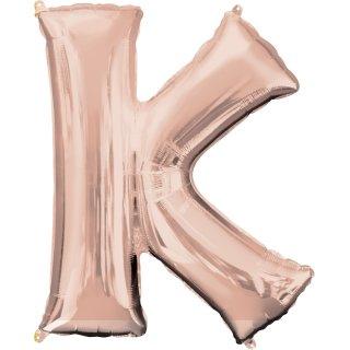 Folienballon Buchstabe K Rosegold ca 86 cm ungefüllt