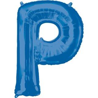 Luftballon Buchstabe P Blau Folie ca 86cm