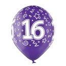 6 Luftballons Zahl 16 Bunt ø30cm