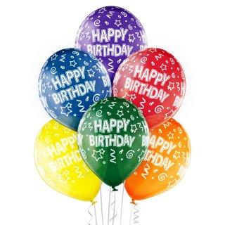 6 Luftballons Happy Birthday Bunt ø30cm