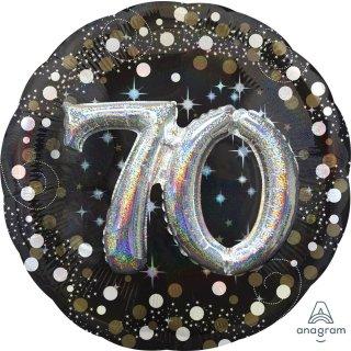 Luftballon Zahl 70 3D Effekt holographisch funkelnd Schwarz Silber Gold Folie ø91cm