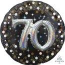 Luftballon Zahl 70 3D Effekt holographisch funkelnd...