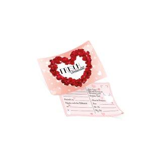 50 Ballonflugkarten FRISCH VERHEIRATET Herz Rosenblätter rot