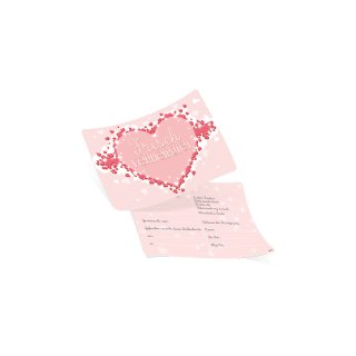 50 Ballonflugkarten FRISCH VERHEIRATET Herz rosa