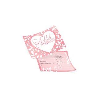 50 Ballonflugkarten GLÜCKLICH VERHEIRATET Herz rosa