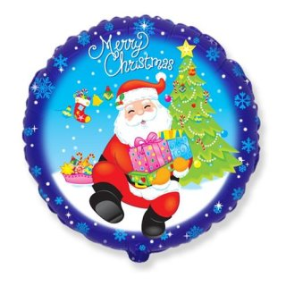 Luftballon Mrerry christmas Weihnachtsmann Folie ø45cm