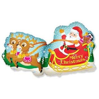Luftballon Mrerry christmas Weihnachtsmann Schlitten Folie 226cm