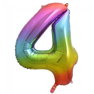 Folienballon Zahl 4 Regenbogen ca 86 cm ungefüllt
