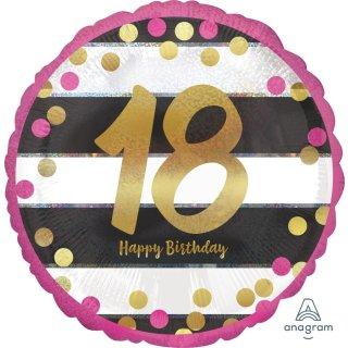 Luftballon Zahl 18 Happy Birthday Gold Pink Folie ø45cm