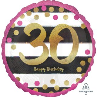 Luftballon Zahl 30 Happy Birthday Gold Pink Folie ø45cm