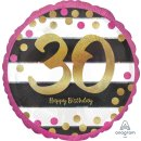 Folienballon Zahl 30 HAPPY BIRTHDAY gold pink ø45 cm...