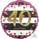 Folienballon Zahl 40 HAPPY BIRTHDAY pink gold ø45 cm...
