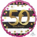 Folienballon Zahl 50 HAPPY BIRTHDAY gold pink ø45 cm...