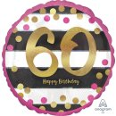 Folienballon Zahl 60 HAPPY BIRTHDAY gold pink ø45 cm...