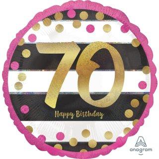 Luftballon Zahl 70 Happy Birthday Gold Pink Folie ø45cm