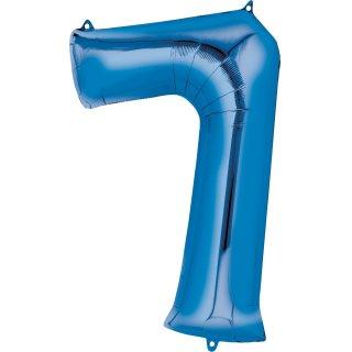 Luftballon Zahl 7 Blau Folie ca 35cm