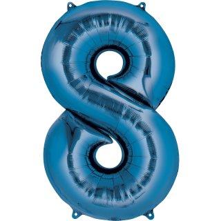Folienballon Zahl 8 blau ca 35 cm nur für Luftfüllung ungefüllt