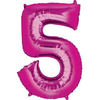 Luftballon Zahl 5 Pink Folie ca 35cm