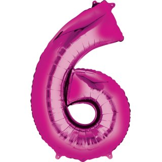 Luftballon Zahl 6 Pink Folie ca 35cm