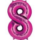 Luftballon Zahl 8 Pink Folie ca 35cm