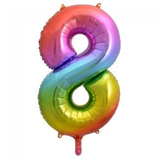 Luftballon Zahl 8 Regenbogen Folie ca 86cm
