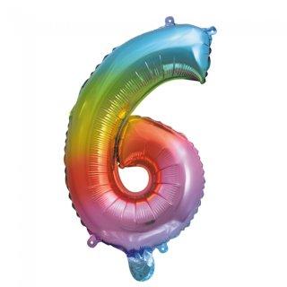 Luftballon Zahl 6 Regenbogen Folie ca 35cm