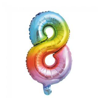 Luftballon Zahl 8 Regenbogen Folie ca 35cm