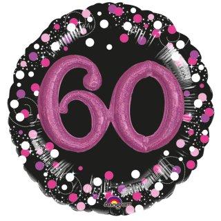 Luftballon Zahl 60 3D Effekt holographisch funkelnd Schwarz Pink Folie ø91cm