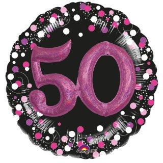 Luftballon Zahl 50 3D Effekt holographisch funkelnd Schwarz Pink Folie ø91cm