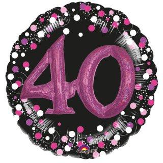 Luftballon Zahl 40 3D Effekt holographisch funkelnd Schwarz Pink Folie ø91cm