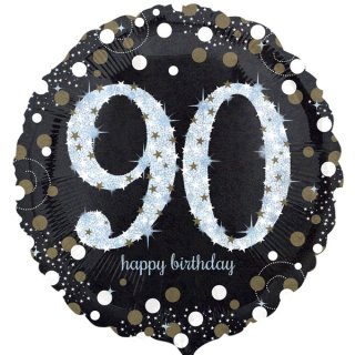 Luftballon Zahl 90 Happy Birthday holographisch funkelnd Schwarz Silber Gold Folie ø45cm