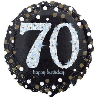 Luftballon Zahl 70 Happy Birthday holographisch funkelnd Schwarz Silber Gold Folie ø45cm
