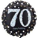 Luftballon Zahl 70 Happy Birthday holographisch funkelnd...