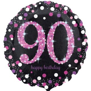 Luftballon Zahl 90 Happy Birthday Schwarz Pink funkelnd Folie ø45cm