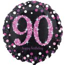 Folienballon Zahl 90 HAPPY BIRTHDAY schwarz pink funkelnd...