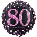 Folienballon Zahl 80 HAPPY BIRTHDAY schwarz funkelnd pink...