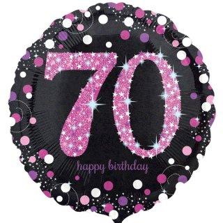 Luftballon Zahl 70 Happy Birthday Schwarz Pink funkelnd Folie ø45cm