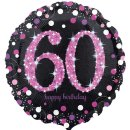 Folienballon Zahl 60 HAPPY BIRTHDAY schwarz funkelnd pink...