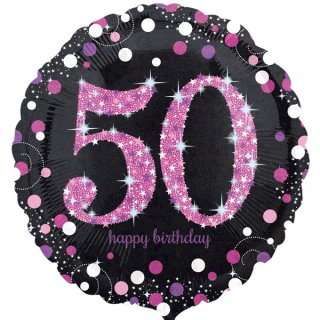 Luftballon Zahl 50 Happy Birthday Schwarz Pink funkelnd Folie ø45cm