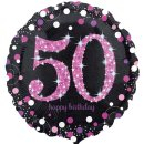 Folienballon Zahl 50 HAPPY BIRTHDAY schwarz funkelnd pink...