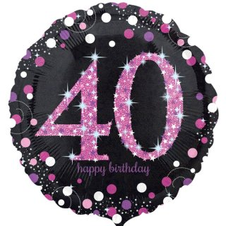 Luftballon Zahl 40 Happy Birthday Schwarz Pink funkelnd Folie ø45cm
