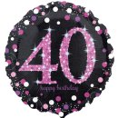 Folienballon Zahl 40 HAPPY BIRTHDAY schwarz pink funkelnd...