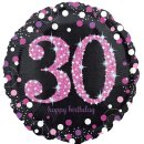 Folienballon Zahl 30 HAPPY BIRTHDAY schwarz pink funkelnd...