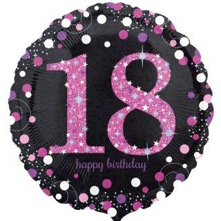 Luftballon Zahl 18 Happy Birthday Schwarz Pink funkelnd Folie ø45cm
