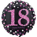 Folienballon Zahl 18 HAPPY BIRTHDAY schwarz pink funkelnd...