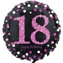 Luftballon Zahl 18 Happy Birthday Schwarz Pink funkelnd...